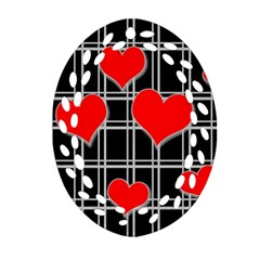 Red Hearts Pattern Ornament (oval Filigree)