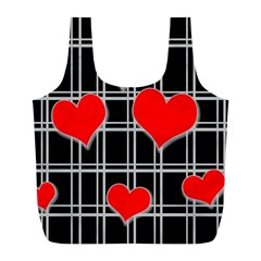 Red Hearts Pattern Full Print Recycle Bags (l)