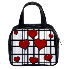 Hearts pattern Classic Handbags (2 Sides)