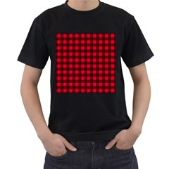 Red and black plaid pattern Men s T-Shirt (Black)