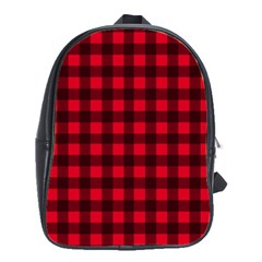 Red and black plaid pattern School Bags(Large)