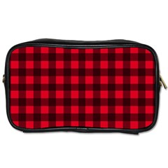 Red and black plaid pattern Toiletries Bags