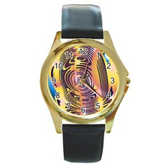 Ethnic Tribal Pattern Round Gold Metal Watch
