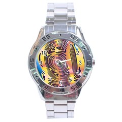 Ethnic Tribal Pattern Stainless Steel Analogue Watch