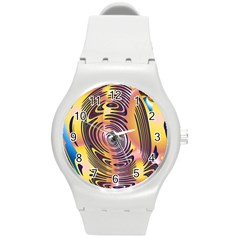 Ethnic Tribal Pattern Round Plastic Sport Watch (M)