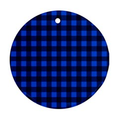 Blue and black plaid pattern Ornament (Round)