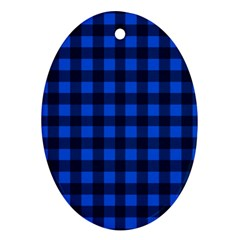 Blue and black plaid pattern Ornament (Oval)