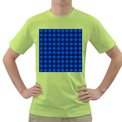 Blue and black plaid pattern Green T-Shirt