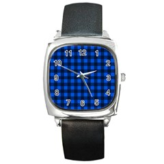 Blue and black plaid pattern Square Metal Watch