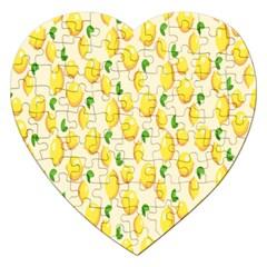 Pattern Template Lemons Yellow Jigsaw Puzzle (Heart)