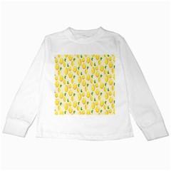 Pattern Template Lemons Yellow Kids Long Sleeve T-Shirts