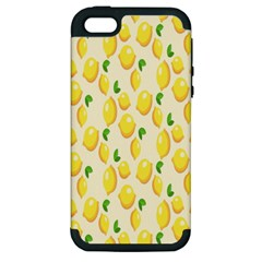 Pattern Template Lemons Yellow Apple Iphone 5 Hardshell Case (pc+silicone)