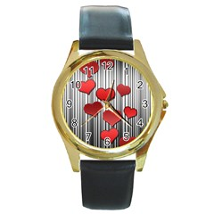 Valentines day pattern Round Gold Metal Watch