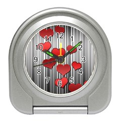 Valentines day pattern Travel Alarm Clocks