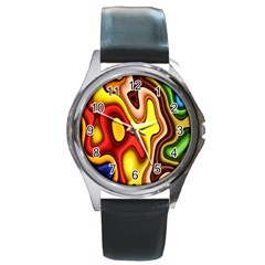 Pattern Background Structure Round Metal Watch