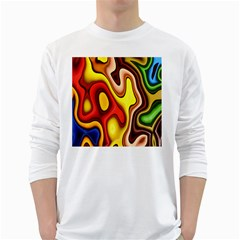 Pattern Background Structure White Long Sleeve T-Shirts