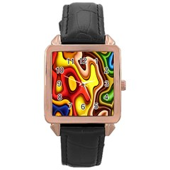 Pattern Background Structure Rose Gold Leather Watch