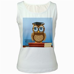Read Owl Book Owl Glasses Read Women s White Tank Top