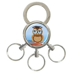 Read Owl Book Owl Glasses Read 3-Ring Key Chains