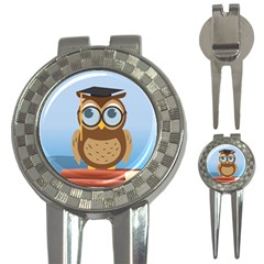 Read Owl Book Owl Glasses Read 3 In 1 Golf Divots