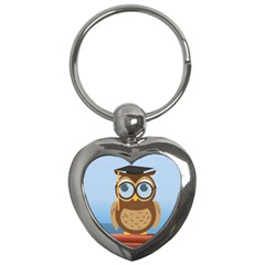 Read Owl Book Owl Glasses Read Key Chains (Heart)