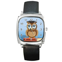 Read Owl Book Owl Glasses Read Square Metal Watch