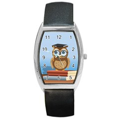 Read Owl Book Owl Glasses Read Barrel Style Metal Watch