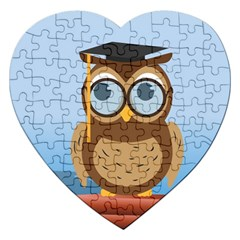 Read Owl Book Owl Glasses Read Jigsaw Puzzle (Heart)