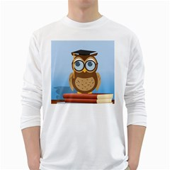 Read Owl Book Owl Glasses Read White Long Sleeve T-Shirts