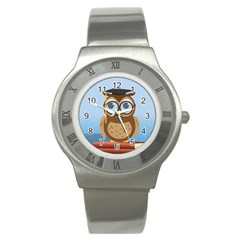 Read Owl Book Owl Glasses Read Stainless Steel Watch