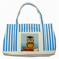 Read Owl Book Owl Glasses Read Striped Blue Tote Bag