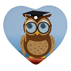 Read Owl Book Owl Glasses Read Heart Ornament (Two Sides)