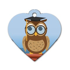 Read Owl Book Owl Glasses Read Dog Tag Heart (One Side)