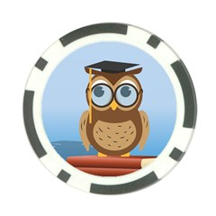 Read Owl Book Owl Glasses Read Poker Chip Card Guard