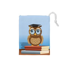 Read Owl Book Owl Glasses Read Drawstring Pouches (Small)