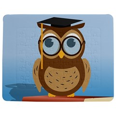 Read Owl Book Owl Glasses Read Jigsaw Puzzle Photo Stand (Rectangular)