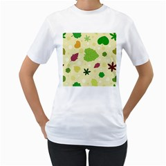 Leaves Pattern Women s T-Shirt (White) (Two Sided)