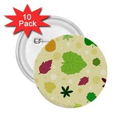 Leaves Pattern 2.25  Buttons (10 pack)