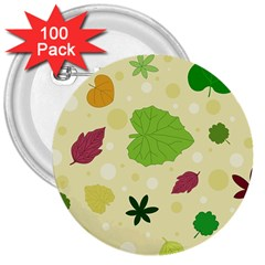 Leaves Pattern 3  Buttons (100 pack)