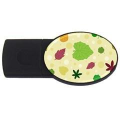 Leaves Pattern USB Flash Drive Oval (2 GB)