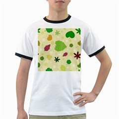 Leaves Pattern Ringer T-Shirts