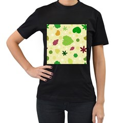 Leaves Pattern Women s T-Shirt (Black) (Two Sided)