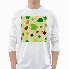 Leaves Pattern White Long Sleeve T-Shirts