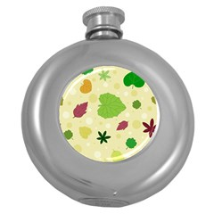 Leaves Pattern Round Hip Flask (5 oz)