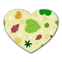 Leaves Pattern Heart Mousepads