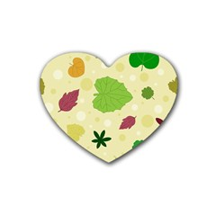 Leaves Pattern Heart Coaster (4 pack)