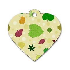 Leaves Pattern Dog Tag Heart (One Side)