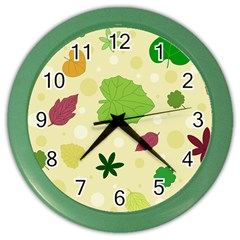 Leaves Pattern Color Wall Clocks