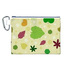 Leaves Pattern Canvas Cosmetic Bag (L)