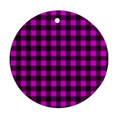 Magenta and black plaid pattern Ornament (Round)